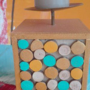 Bougeoir bois face différentes couleurs