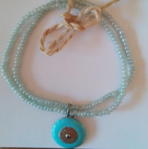 Bracelet vert d'eau et perle turquoise