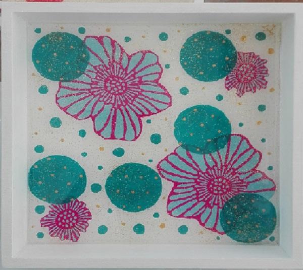 Plateau carré fleur et turquoise 20 x 20